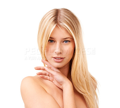 Buy stock photo Beauty shot of an attractive young woman