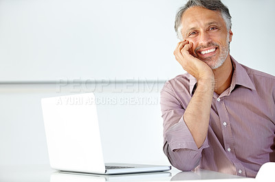 Buy stock photo Handsome mature man seated at a desk alongside his laptop