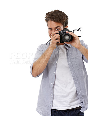 Buy stock photo Portrait of a handsome young photographer snapping a picture of you