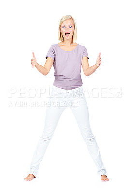 Buy stock photo Pretty young woman gesturing something big in her hands