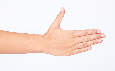 Buy stock photo Cropped image of a hand gesturing a hand shake