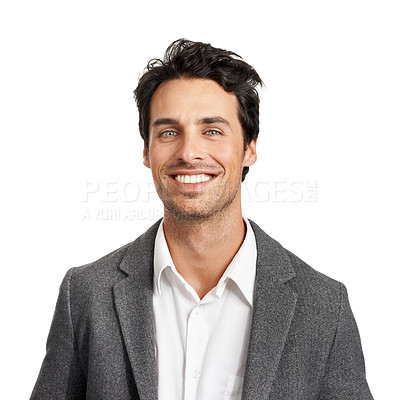 Buy stock photo A handsome young businessman giving you a smile