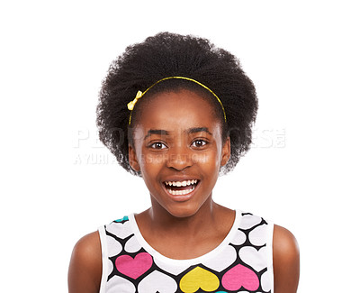Buy stock photo Studio portrait of a young african american girl grinning broadly isolated on white