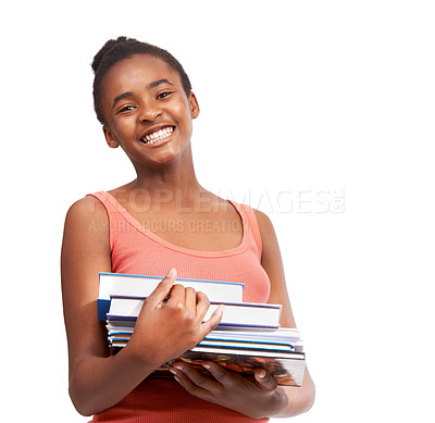 Buy stock photo Studio portrait of a young african american girl carrying a pile of schoolbooks isolated on white
