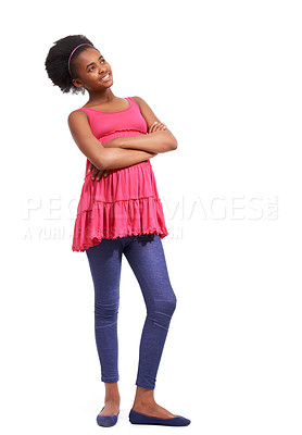 Buy stock photo Full length studio portrait of a young african american girl standing with her arms crossed isolated on white