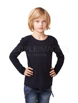Buy stock photo Portrait of a pretty little girl standing with hands on her hips against a white background