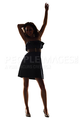 Buy stock photo Portrait of a happy young dancing against white background - Silhouette