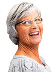 Cheerful retired woman laughing on white background