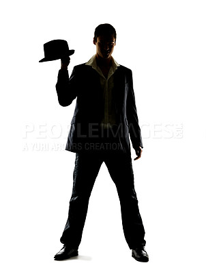 Buy stock photo Portrait of a young man standing with his hat against a white background