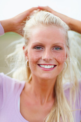Buy stock photo Closeup portrait of a pretty blond woman at the country side