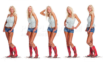 Buy stock photo Digital composite - Pretty sexy blond covered in muck posing over white