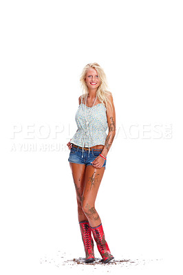 Buy stock photo Full length portrait of a sexy young female covered in muck isolated on white