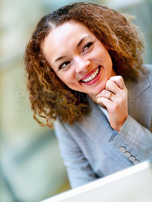 Buy stock photo Cute young African American business woman smiling