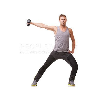 Buy stock photo A fit young man doing lateral raises with dumbbells while isolated on a white background