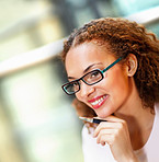 Cute young business woman wearing glasses
