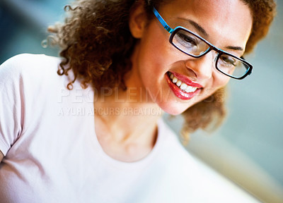 Buy stock photo Closeup of a young African American business woman at work