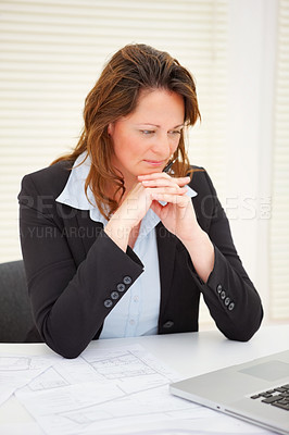 Buy stock photo Happy middle aged business woman reading her email , pleasant mood