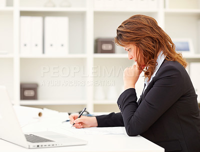 Buy stock photo Successful business woman busy working in the office