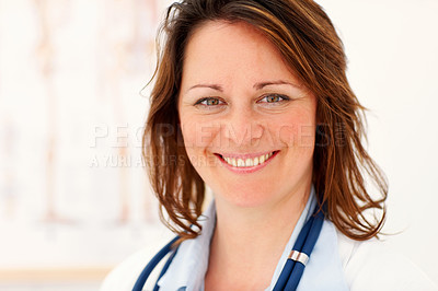Buy stock photo Closeup portrait of a happy middle aged female doctor