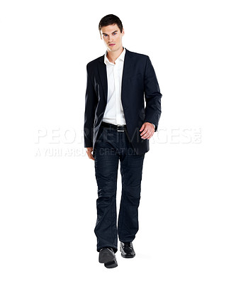 Buy stock photo Portrait of a confident young male entrepenuer walking on white background