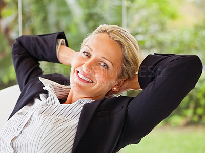 Buy stock photo Pretty mature business woman, relaxing