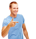 Young guy gesturing with a you sign, isolated over background