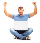 Happy man with his arms up, using laptop isolated on white