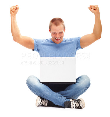 Buy stock photo Casual happy man with his arms up, using laptop isolated on white background