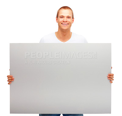 Buy stock photo Portrait of a happy male holding blank white card