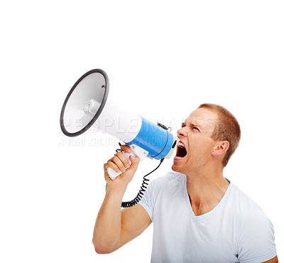 Buy stock photo Young man shouting into the megaphone over white background