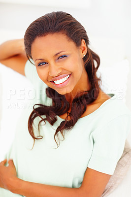 Buy stock photo Closeup portrait of a smiling African American woman