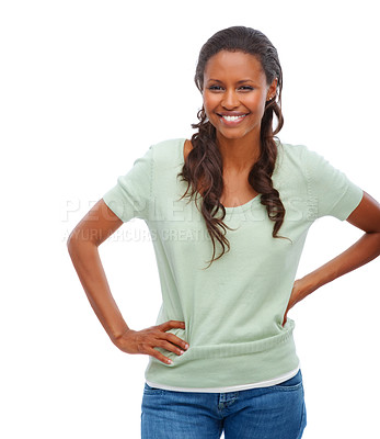Buy stock photo Cute African American woman posing isolated against white background