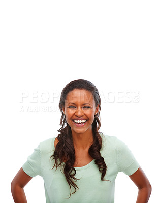 Buy stock photo Young African American laughing isolated on white background