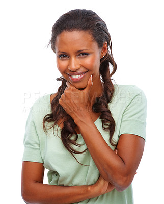 Buy stock photo Portrait of a young African American woman smiling against white