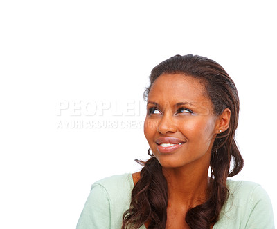 Buy stock photo Cute young African American woman looking at copyspace, day dreaming