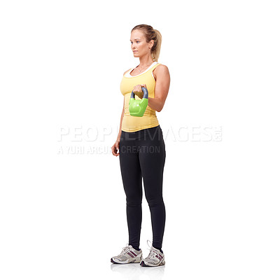 Buy stock photo Studio shot of an attractive woman working out with weights