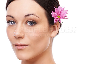 Buy stock photo A beautiful brunette looking at the camera with a pink flower in her hair
