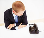 Top view of businessman in office waiting for a call