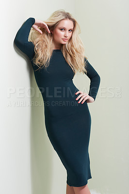 Buy stock photo A gorgeous young model posing in the latest fashion in studio