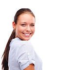 Cute young female smiling isolated over white background