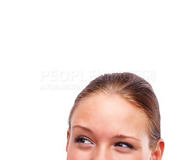 Buy stock photo Cropped image of a young female looking away isolated on white background