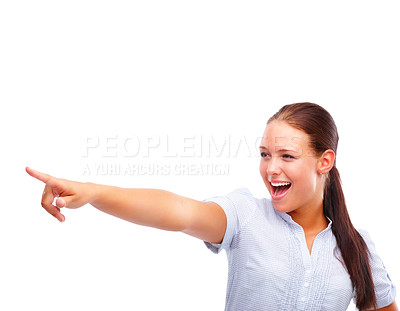 Buy stock photo Happy young female pointing away isolated over white