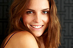 Lovely young female model smiling