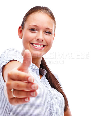 Buy stock photo Portrait of a pretty young female offering a handshake, smiling over white