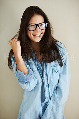 Buy stock photo Cropped shot of a sexy young woman posing in a denim shirt