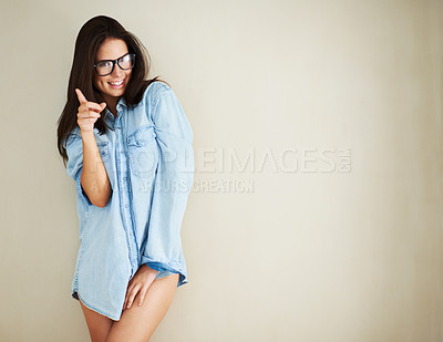 Buy stock photo Cropped shot of a sexy young woman posing in nothing but a shirt