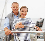 Senior couple on a boat voyage at the sea