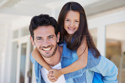 Buy stock photo Cropped shot of a handsome father bonding with his daughter