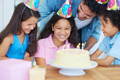 Buy stock photo Cropped shot of a young girl's birthday party