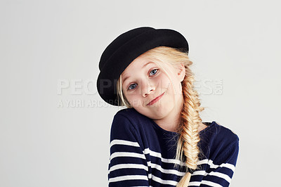 Buy stock photo Portrait of a cute girl wearing a hat and smiling happile